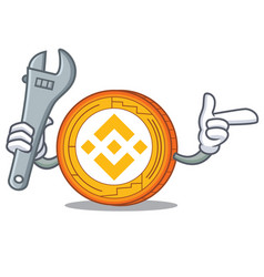 Mechanic binance coin mascot catoon vector