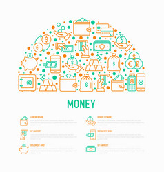 Money concept in half circle with thin line icons vector