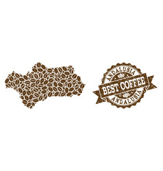 Mosaic map of andalusia province with coffee beans vector