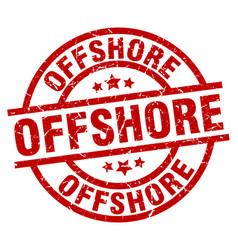 Offshore round red grunge stamp vector