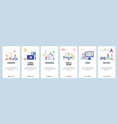 online gaming website and mobile app onboarding vector image
