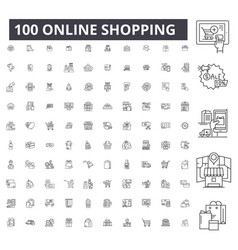 online shopping editable line icons 100 vector image