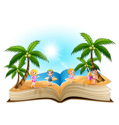 open book with cartoon happy children on the beach vector image