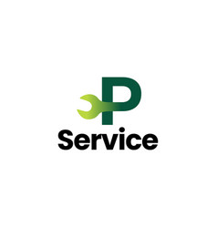 p letter wrench service logo icon vector image