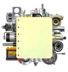 Paper sheet with car parts vector