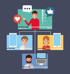 People videos viral content mobile computer device vector