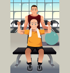 Personal trainer training an elderly man vector