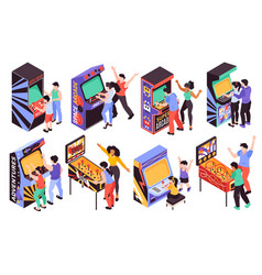 Retro arcade game machines isometric set vector