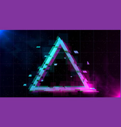 Retrowave glitch triangle with sparkling and blue vector