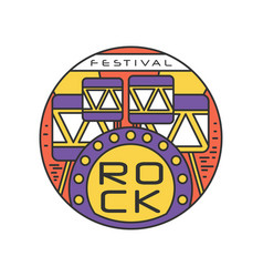 Rock festival logo template emblem in line style vector