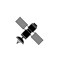 Satellite solid icon navigation and communication vector