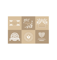 set creative logos with abstract leaves vector image
