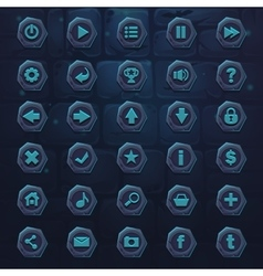 set dark ice blue buttons on background stone vector image