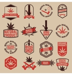 Set of cannabis labels Medical marijuana bong vector image