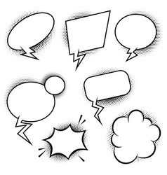 Set of comic style speech balloons design vector