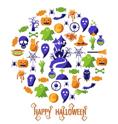Set of Happy Halloween icons vector image