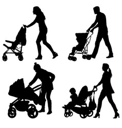 set silhouettes walkings mothers with baby vector image