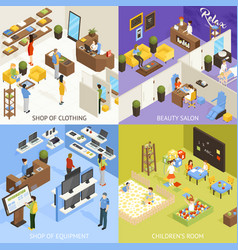 Shopping mall isometric design concept vector
