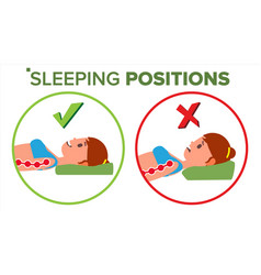 Sleeping position correct spine sleeping vector