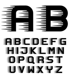 Speed motion lines font alphabet letters vector