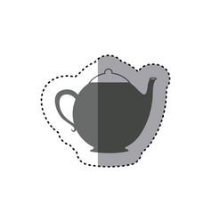 Sticker monochrome silhouette teapot icon drink vector