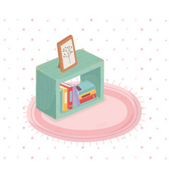 Sweet home books and picture wooden frame carpet vector