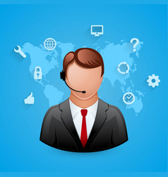 Technical support blue background man with icons vector