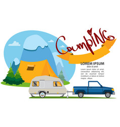 Tourism recreation camping picnic holiday travel vector