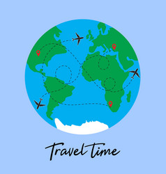 travel around world plane vector image