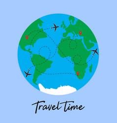 travel around world plane vector image