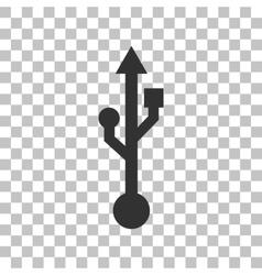 USB sign Dark gray icon on vector
