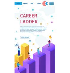 Vertical banner is written career ladder cartoon vector
