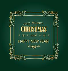 vintage christmas golden frame merry christmas vector image