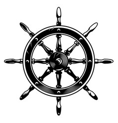 vintage monochrome ship wheel concept vector image