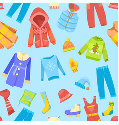 warm winter clothes and woolies winter apparel vector image