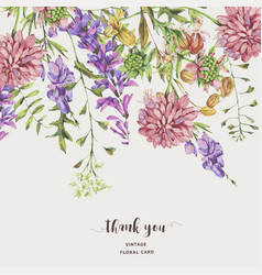 watercolor summer meadow flowers wildflowers vector image
