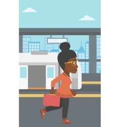 Woman at the train station vector image