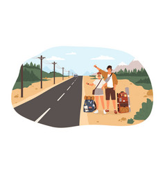 young happy couple with backpacks standing near vector image