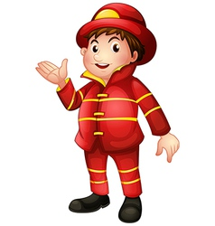 A fireman with a complete uniform vector image