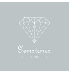Diamond isolated on white vector image vector image