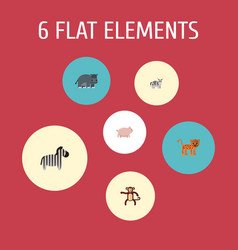 flat icons panther swine hippopotamus and other vector image