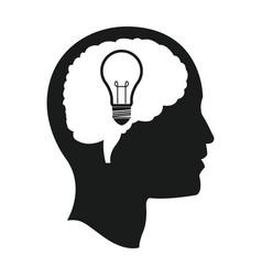 Head brain bulb idea mind vector