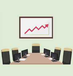 meeting room with computer paper chair vector image vector image