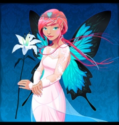 Portrait of a young fairy with a wedding dress and vector