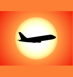 airplane silhouette background sunset vector image