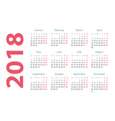 calendar for 2018 starts monday calendar vector image