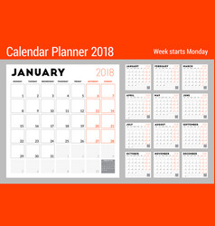 Calendar planner for 2018 year week starts on vector