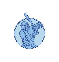 Baseball Player Batter Batting Circle Mono Line vector image vector image