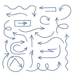 hand drawn arrows set - ballpoint pen sketched vector image