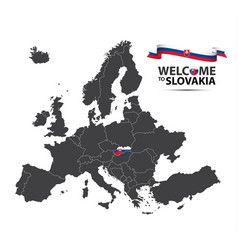 map of europe with the state of slovakia vector image vector image